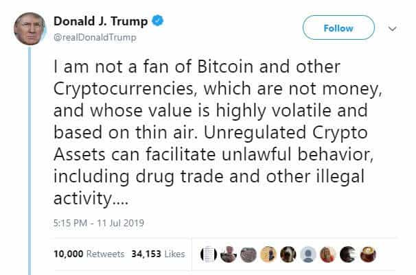The bitcoin price rose after Trump said he is not a fan of it.