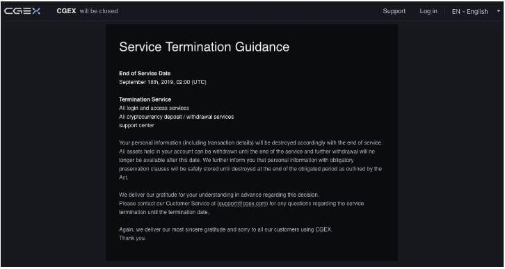 CGEX Will Shut Down Its Service