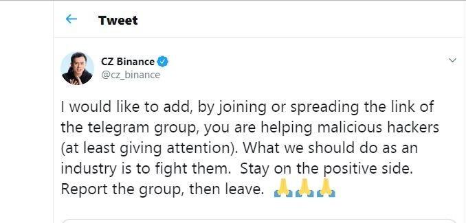 Binance Security Warning